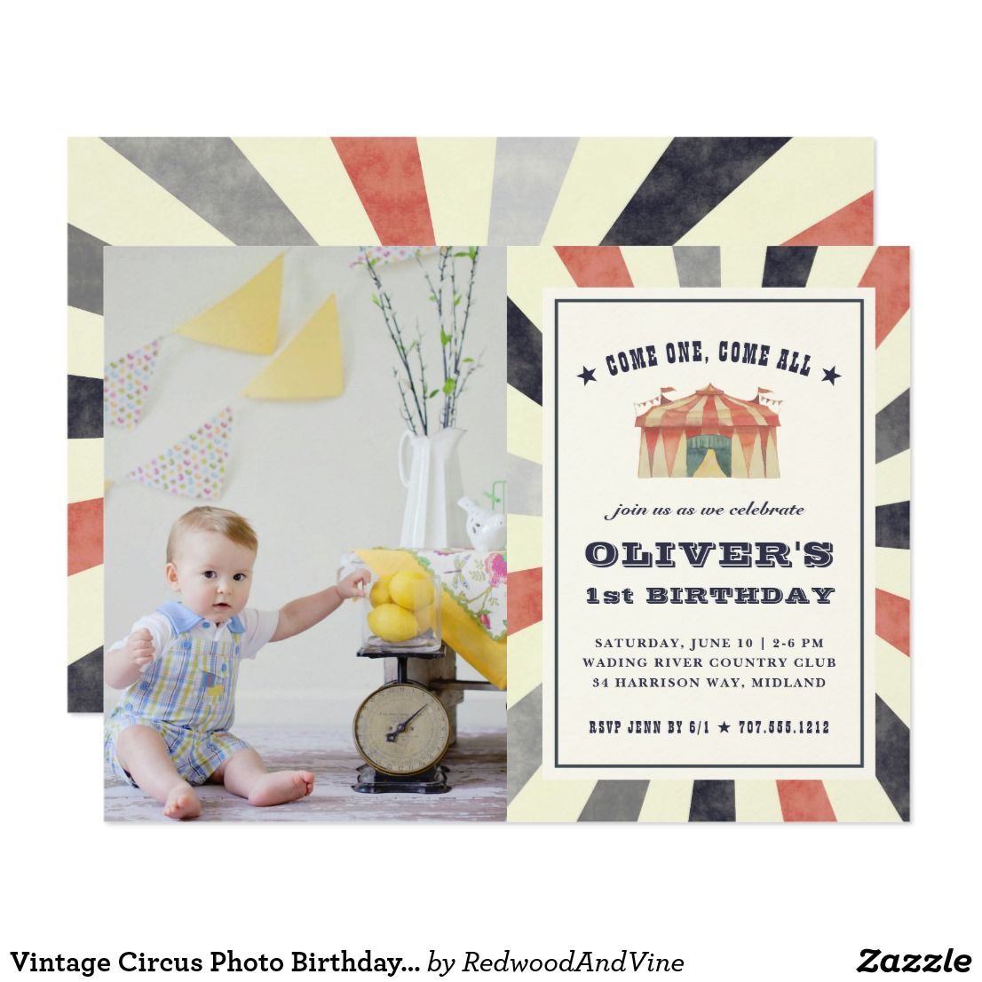 Vintage circus photo birthday party invitation vintage circus photo birthday party invitation cute vintage style circus theme birthday party invitation features your stopboris Gallery