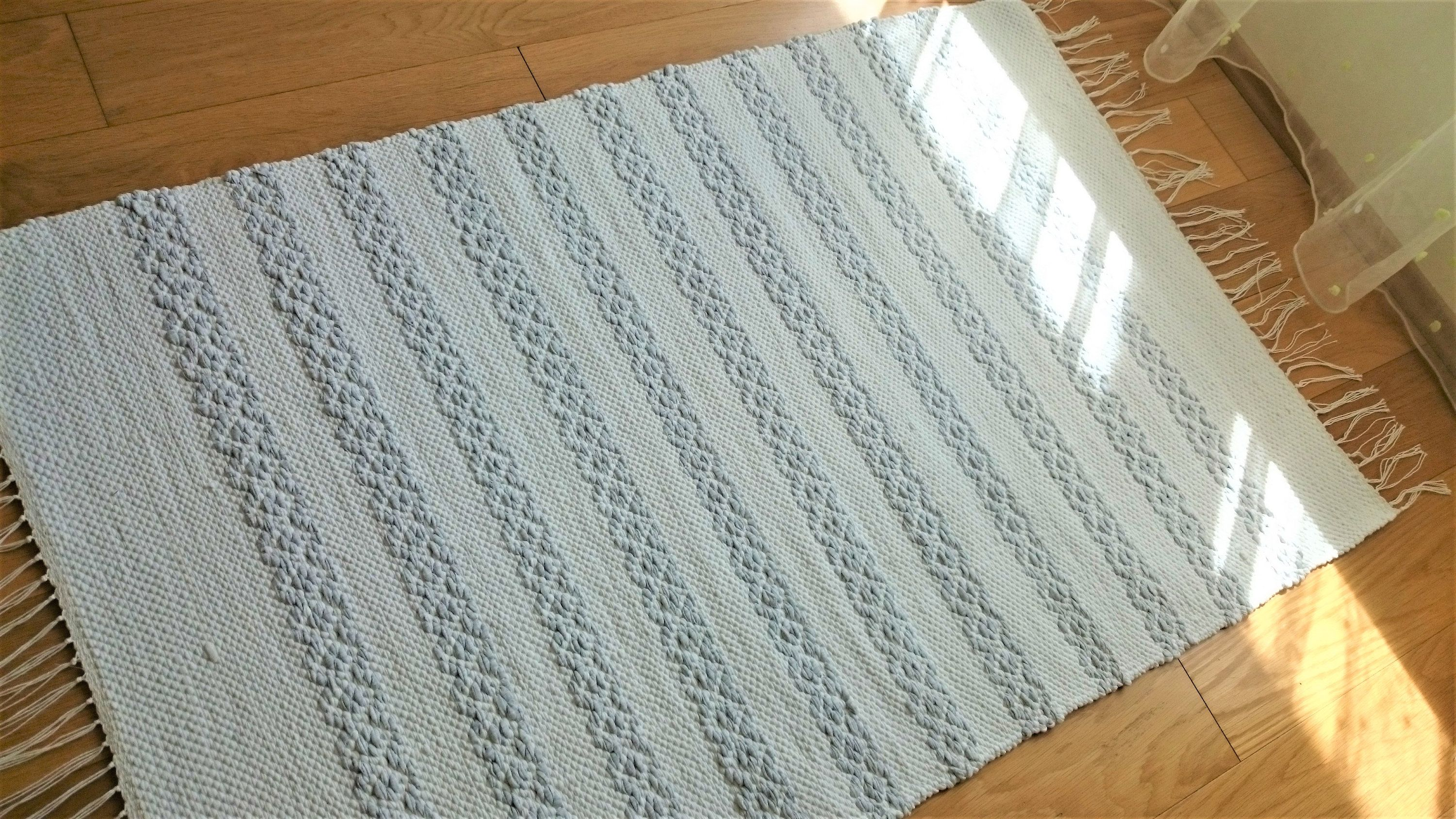 White And Gray Striped Rug Reversible