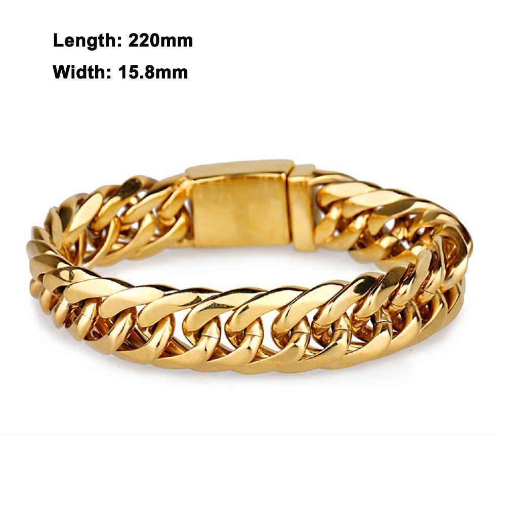 New brand luxury link chain menus bracelet men never fade gold