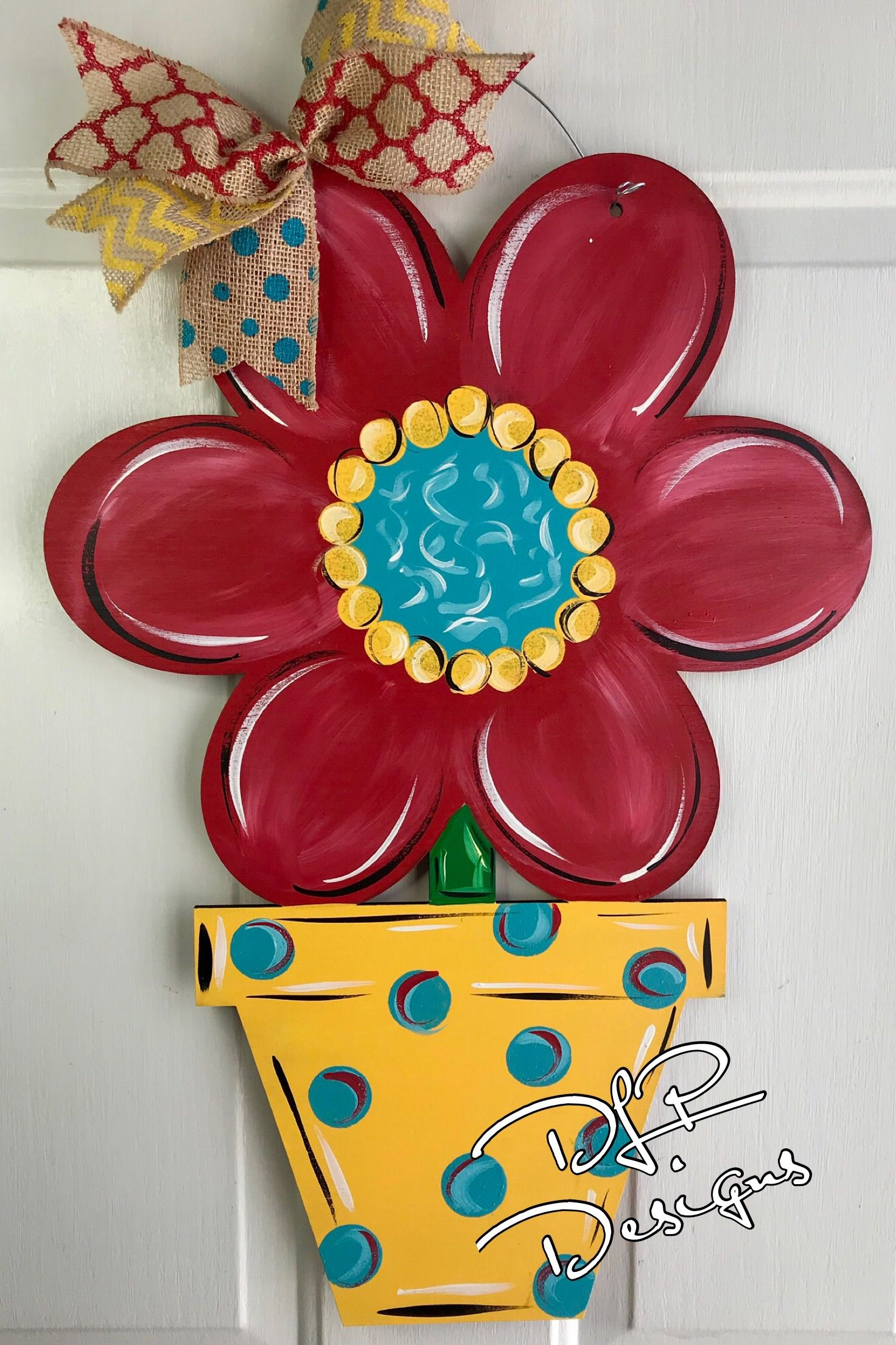 Flower Pot Door Hanger Unfinished Wooden Door Signs