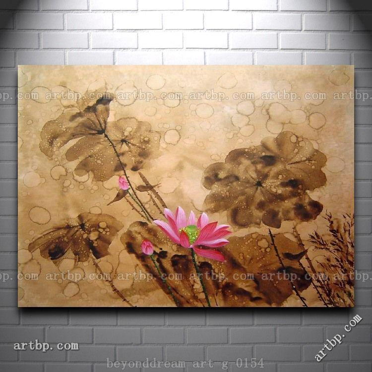 Blooming fresh pink lotus flower in rain oil painting asian flower blooming fresh pink lotus flower in rain oil painting asian flower art deco famous artists modern mightylinksfo