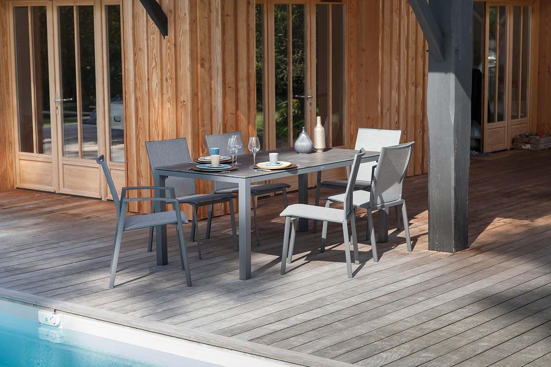 Table en aluminium et plateau trespa Stoneo 180 cm (Taupe, bois)