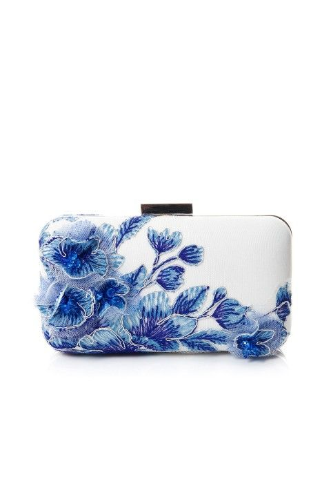 Embroidered 3D Blossom-Motif Clutch