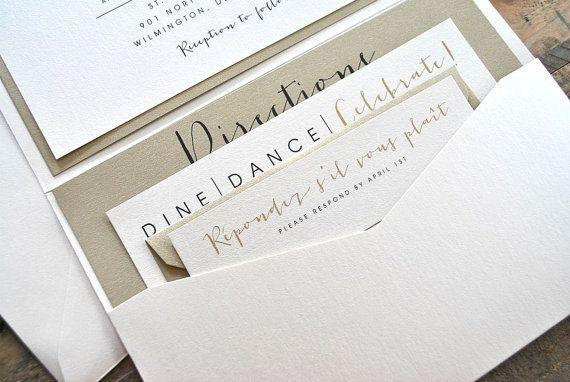 Bronson Wedding Invitation LARGE Pocketfold with Ribbon Tie - Ivory