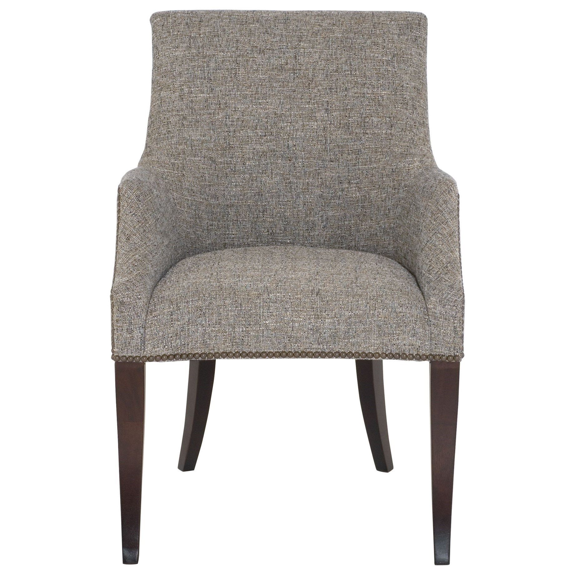 Keeley Upholstered Dining Arm Chair With Nail Head Trim By