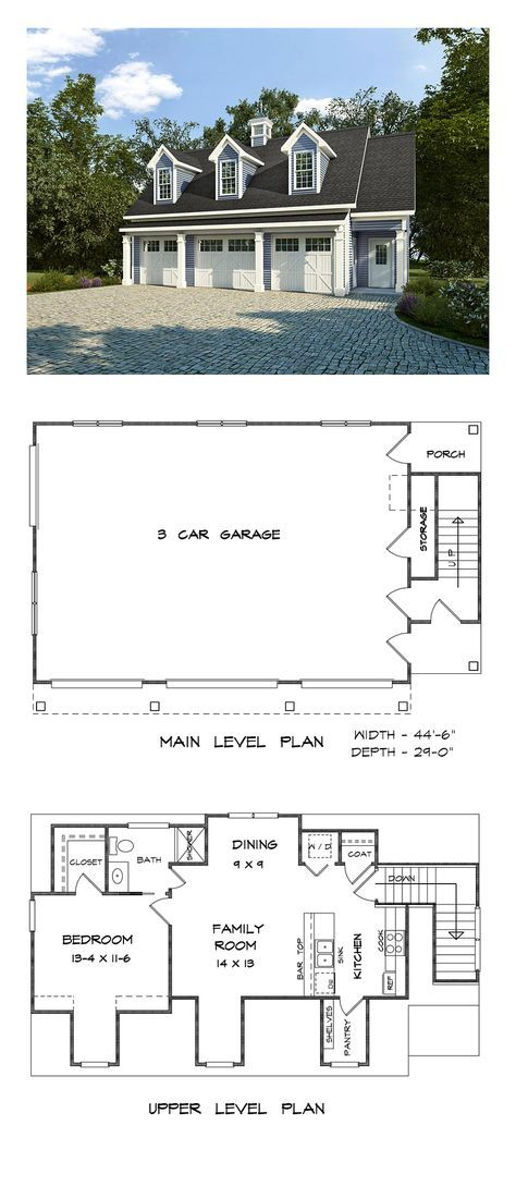 Southern Style Garage Living Plan 58248 With 1 Bed 1 Bath 3 Car Garage Carriage House Plans Garage Apartment Plan Garage Apartment Plans