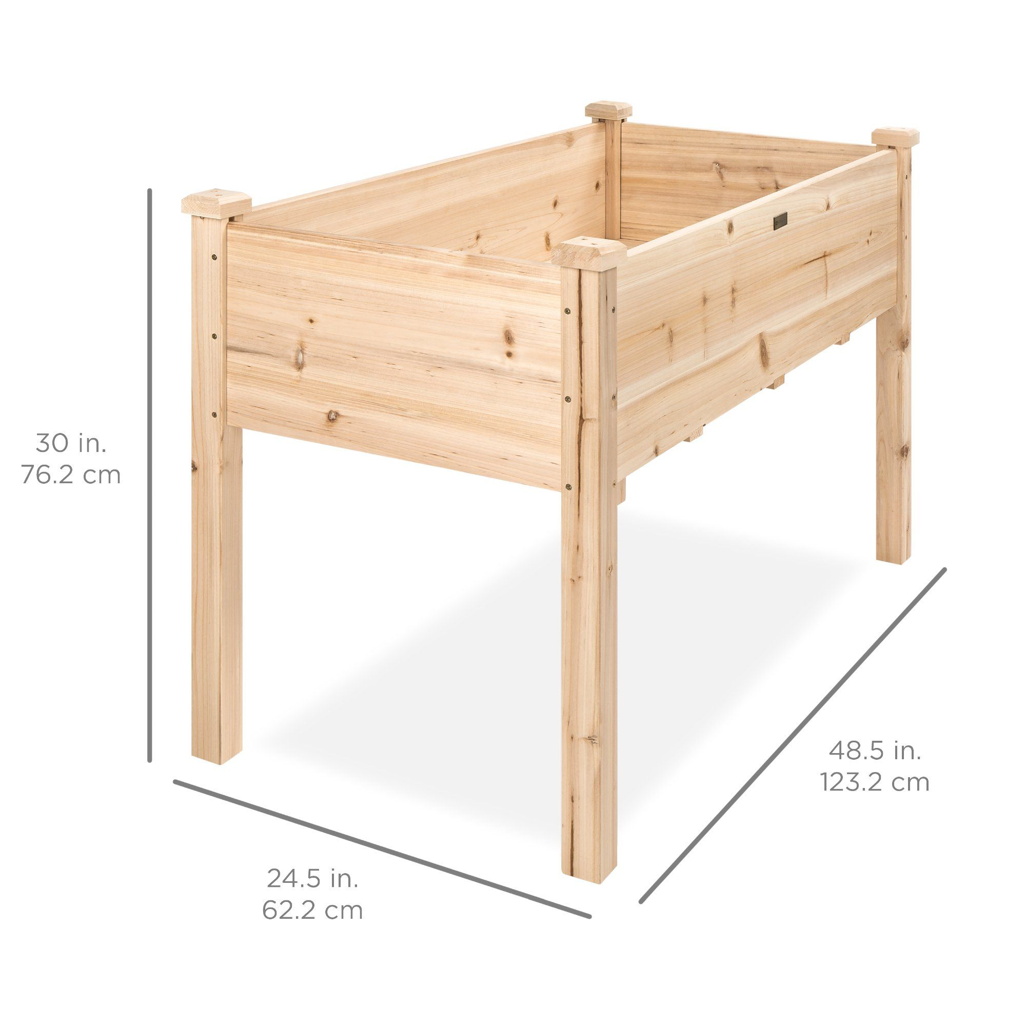 Best Choice Products 48x24x30in Elevated Wood Planter Garden Bed Box Stand for Backyard, Patio - Natural -   18 diy Wood garden ideas