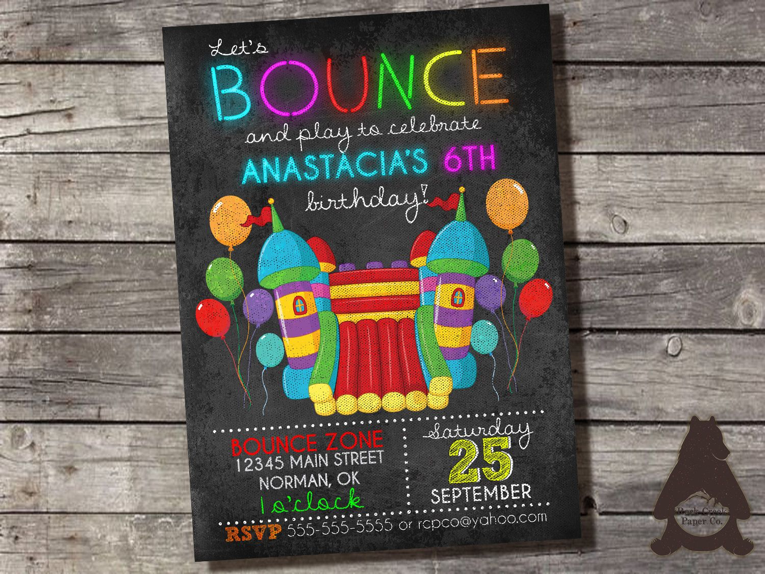 Bounce House Neon Chalkboard Invitation, Bounce Party, Jumping ...