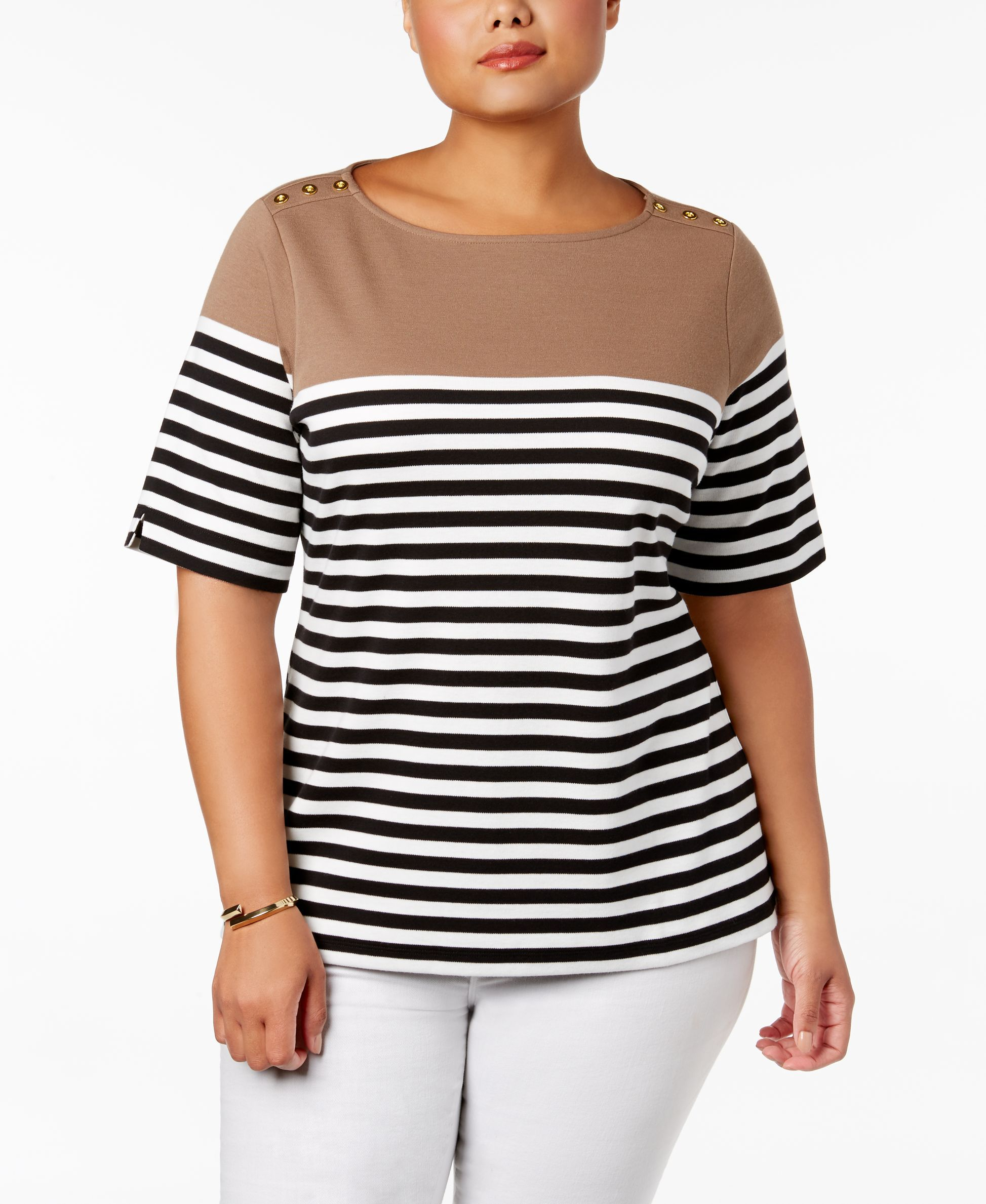Karen Scott Plus Size Striped Button-Shoulder Top, Only at Macy's