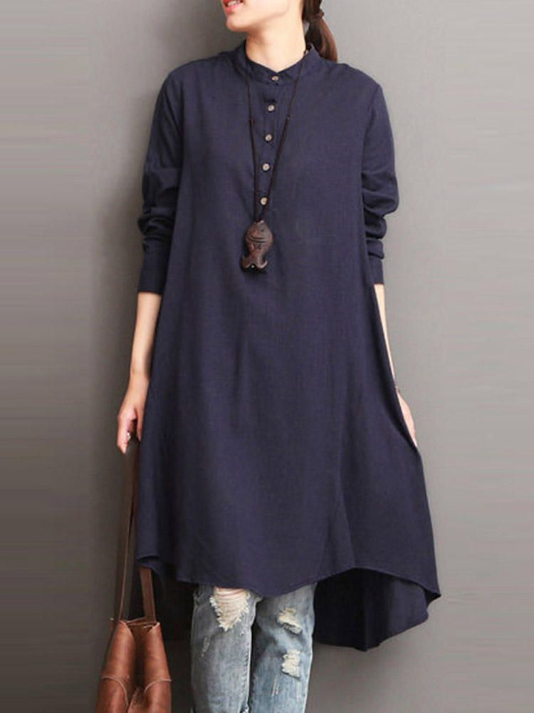 4d75148a793 Women Button Down Baggy Blouse Loose Asymmetric Dress - Banggood Mobile