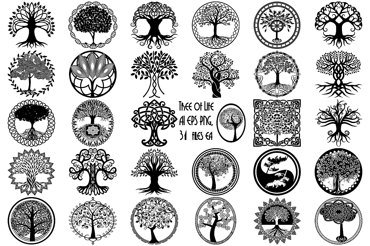 Tree Of Life Silhouettes Ai Eps Vector Png 154061 Illustrations Design Bundles Tree Of Life Tattoo Marquesan Tattoos Tree Of Life