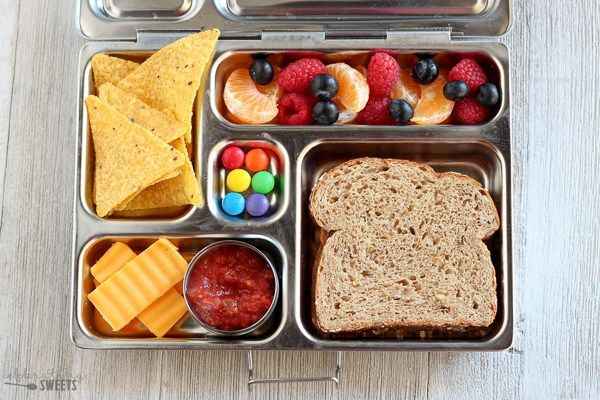 Tortilla Chips And Salsa Fruit Salad Almond Butter And Jelly Sandwich Cheese Chocolate Candies Food Healthy Lunch No Heat Lunch