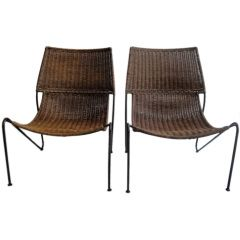 Pair of Wicker Chairs by Fredrick Weinberg thumbnail 1
