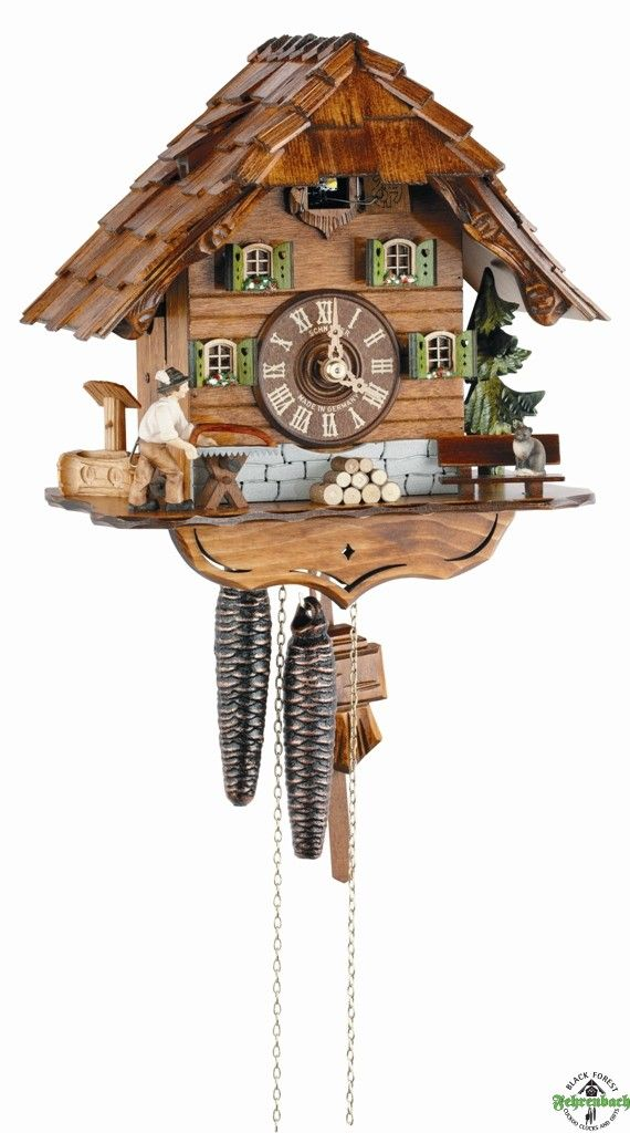 Chalet Cuckoo Clock With Lumberjack With Images Cuckoo Clock