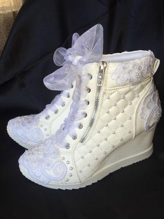 Wedding Shoes Wedge Sneakers Bridal