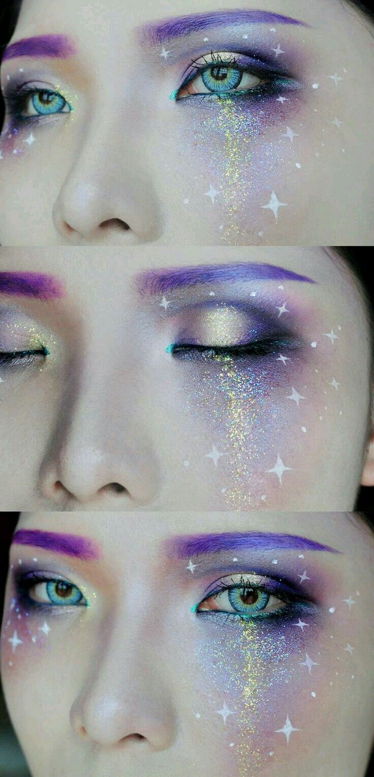 Space Makeup Elfe Makeup Galaxy Makeup Und Fantasy Makeup