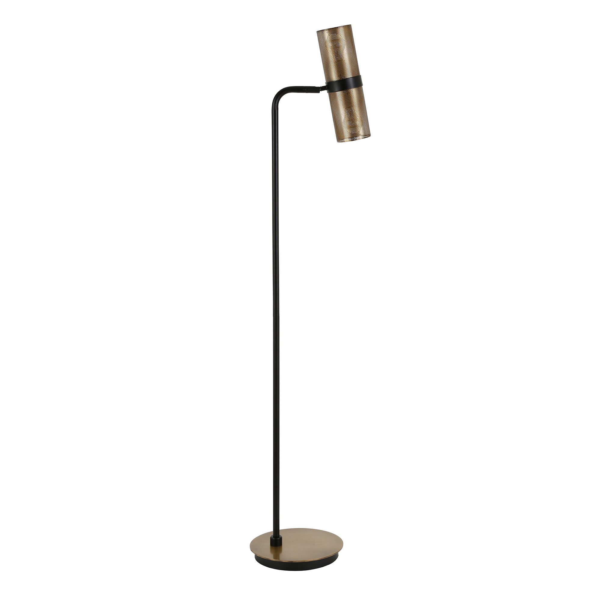 Modern, contemporary floor lamp in blackened bronze with brass
