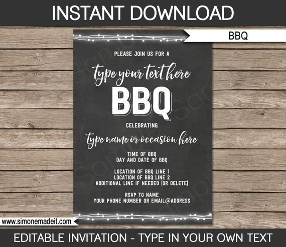 BBQ Invitation Template for birthday bbq backyard by SIMONEmadeit - bbq invitation template