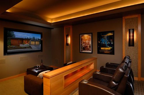 Anya Lane contemporary home theater pictures