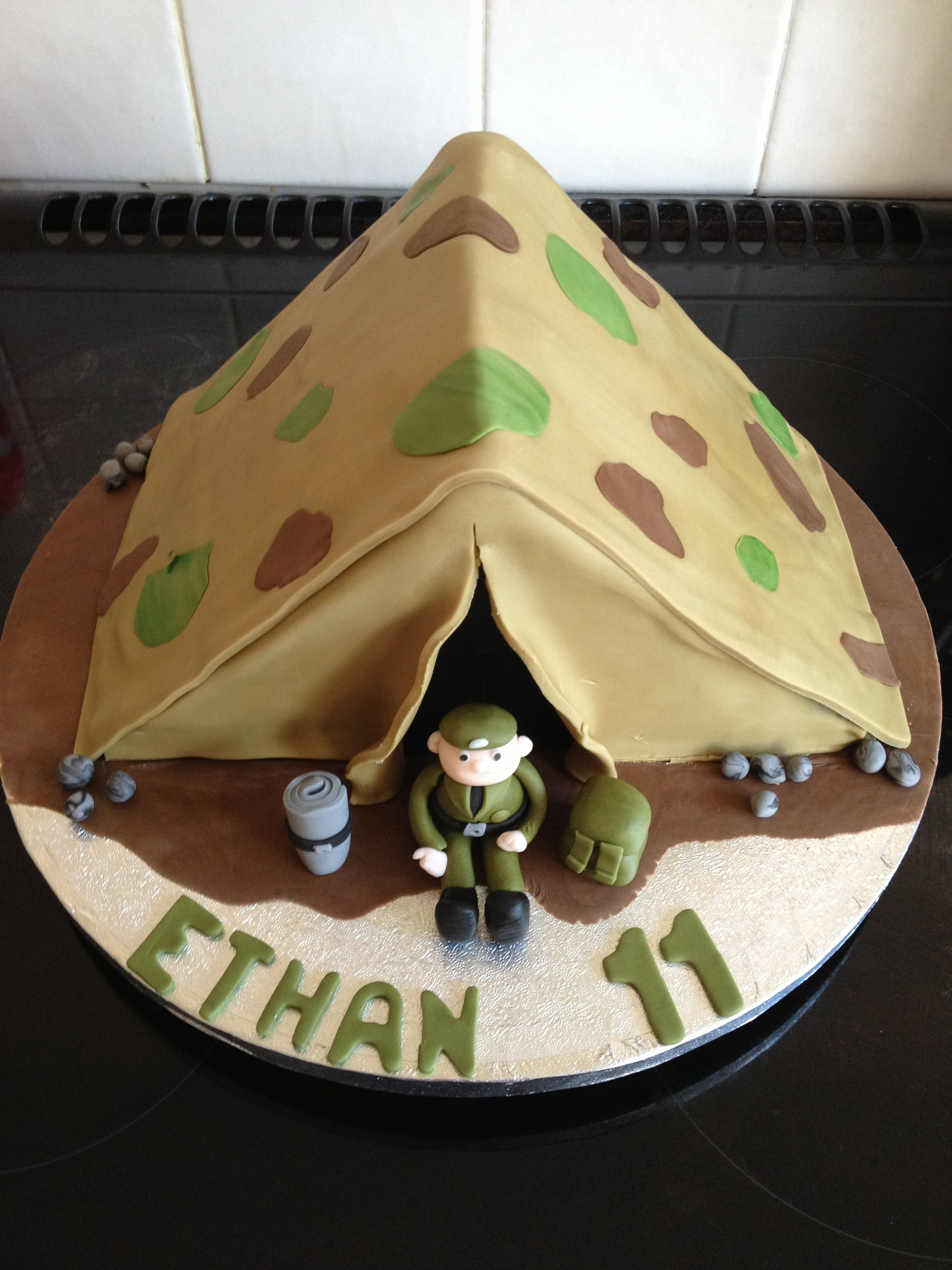 Army Camouflage Tent Cake With Soldier Yummiliciouscakes