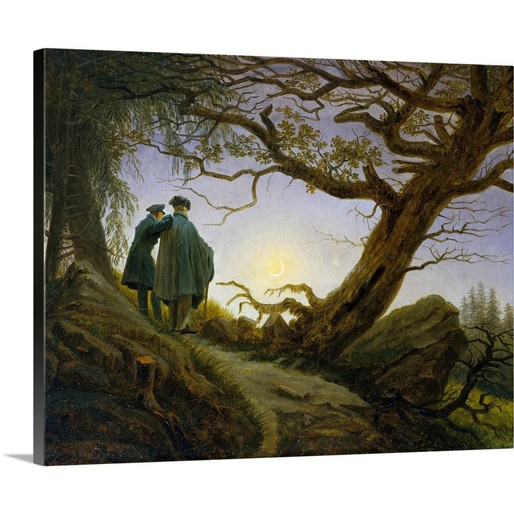 "GreatBigCanvas ""Two Men Contemplating the Moon"" by Caspar David Friedrich Canvas Wall Art 2476035_24_20x16 - The Home Depot"