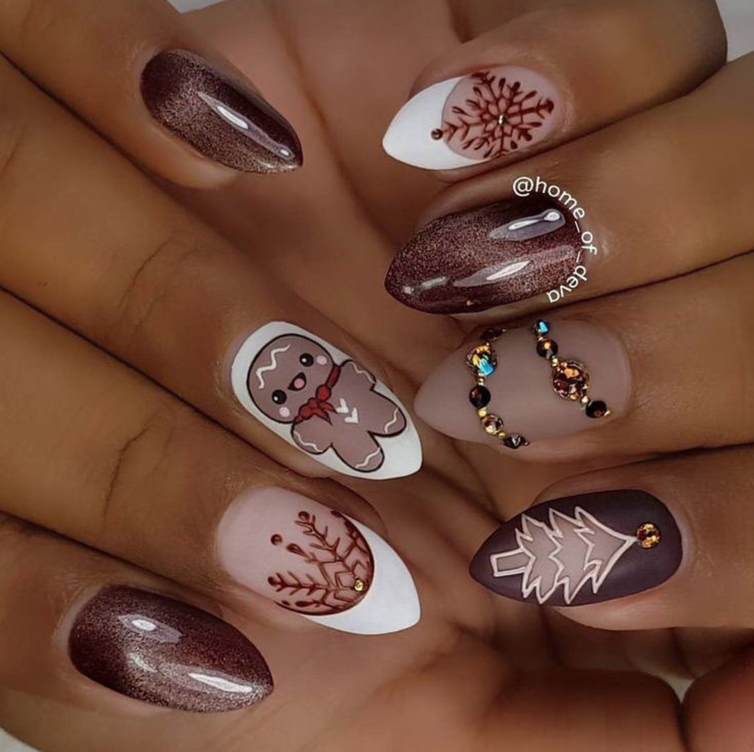 Christmas cookie, tree and snowflake nail art , winter nails