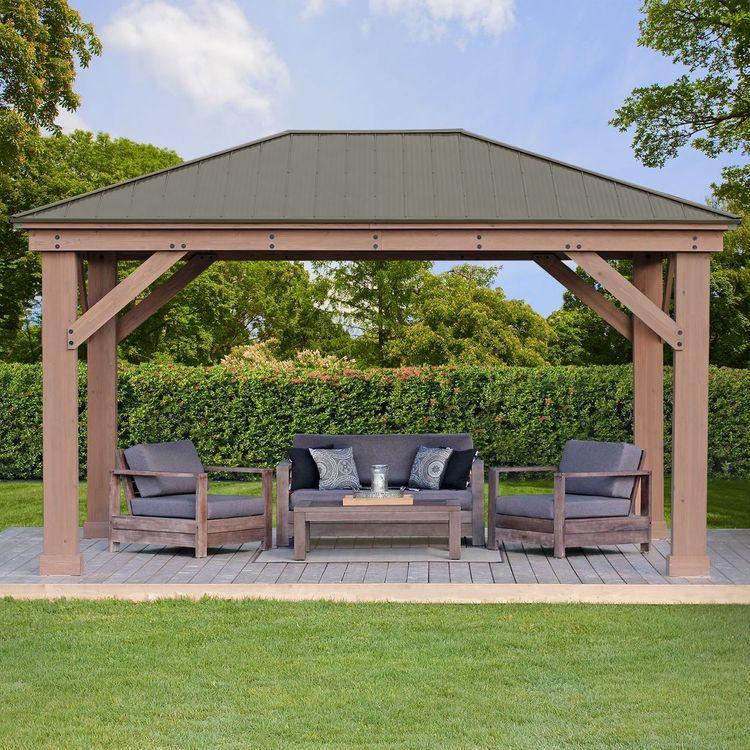 12 X 16 Cedar Gazebo With Aluminum Roof Backyard Pavilion Patio Pergola Patio