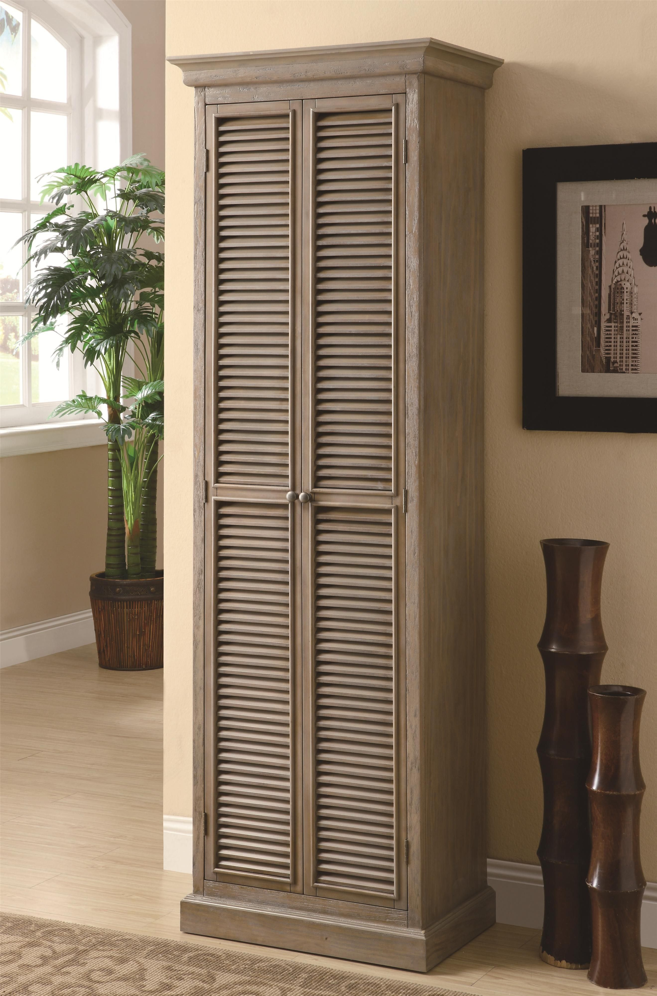 Unpolished Shutter Door Tall Storage Cabinet Placed On Cream Laminated Wooden Floor With Garage Units