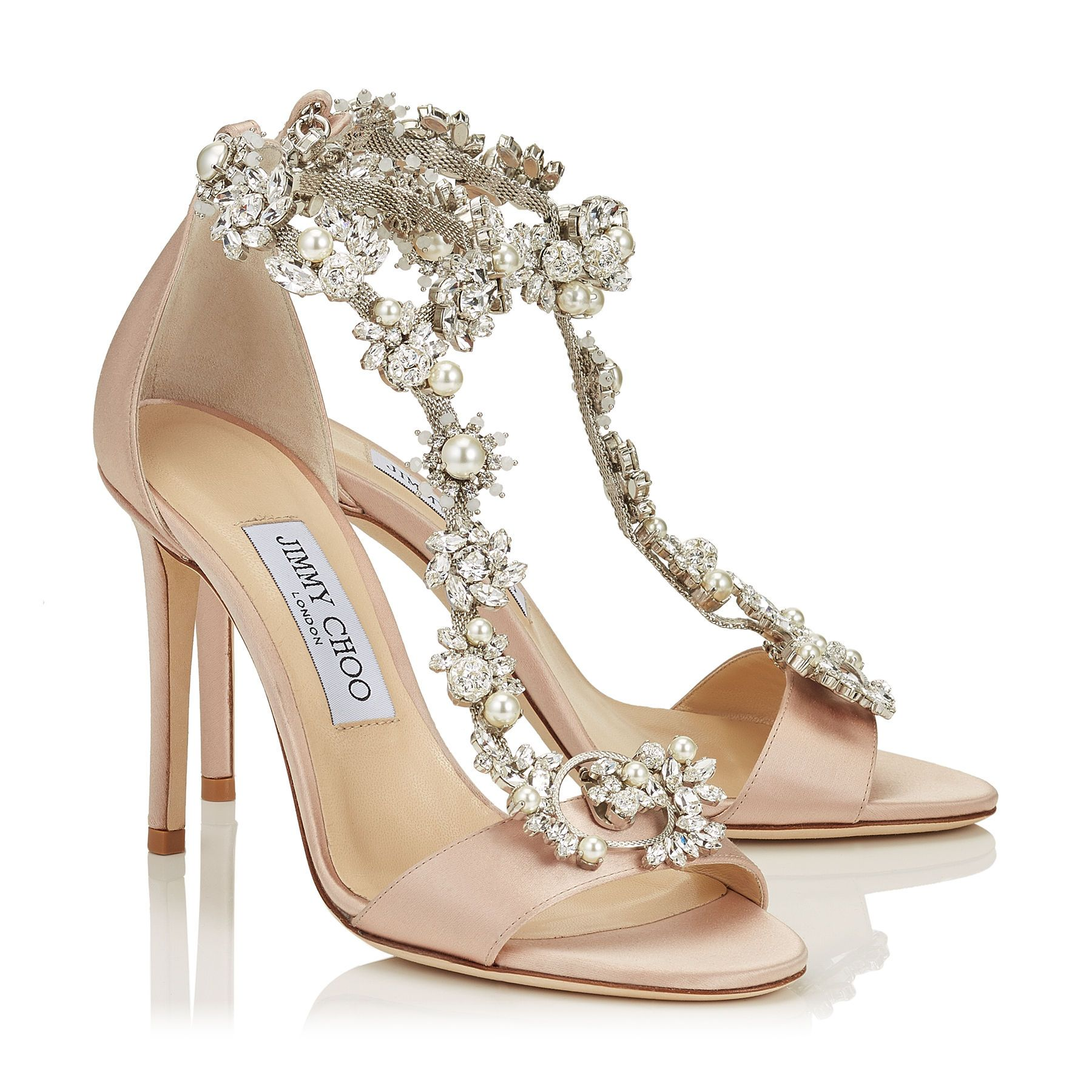 Dusty Rose Satin Sandals with Camellia Mix Anklet | Reign 100 | Cruise 17 |  JIMMY