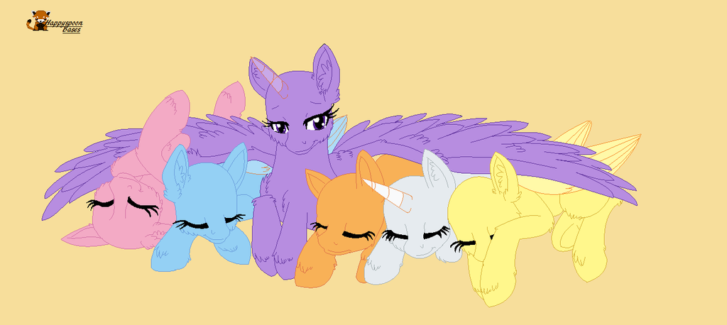 Mlp Group Sleeping Base By Happyspoon On Deviantart Drawing Ponies