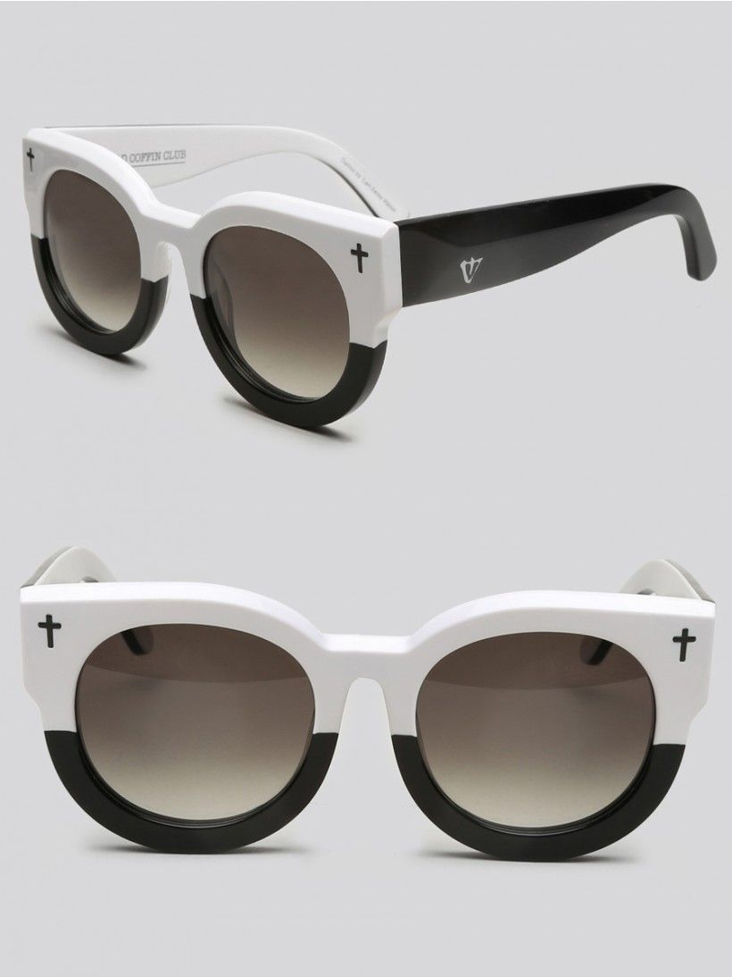0cbbfdbe8e8b1 VALLEY EYEWEAR Bold bottle cap wayfarer sunglasses, featuring a black and  white frame with black cross detailing on front and black lenses.