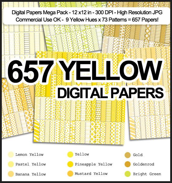 LIMITED TIME SALE 657 Yellow Digital Papers
