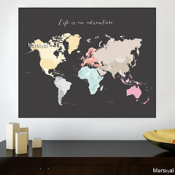 30x24 printable world map diy travel pinboard map pastels world 30x24 printable world map diy travel pinboard map by blursbyaishop 790 gumiabroncs Choice Image