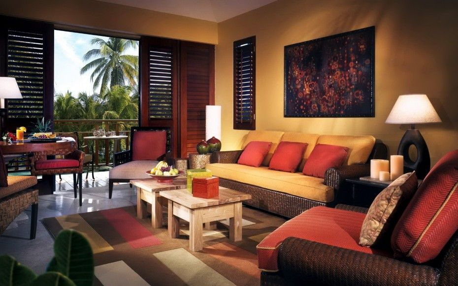 Tropical Living Room With Brown Rattan Sofa Yellow And Red Upholstered Seat Plus Cushions