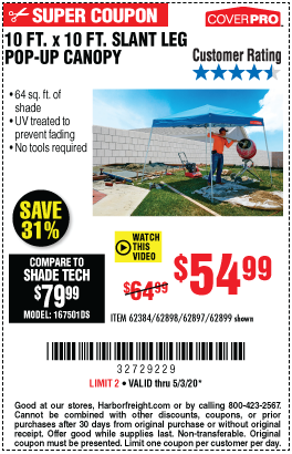Coverpro 10 Ft X 10 Ft Pop Up Canopy For 54 99 In 2020 Harbor Freight Tools Harbor Freight Coupon Pop Up