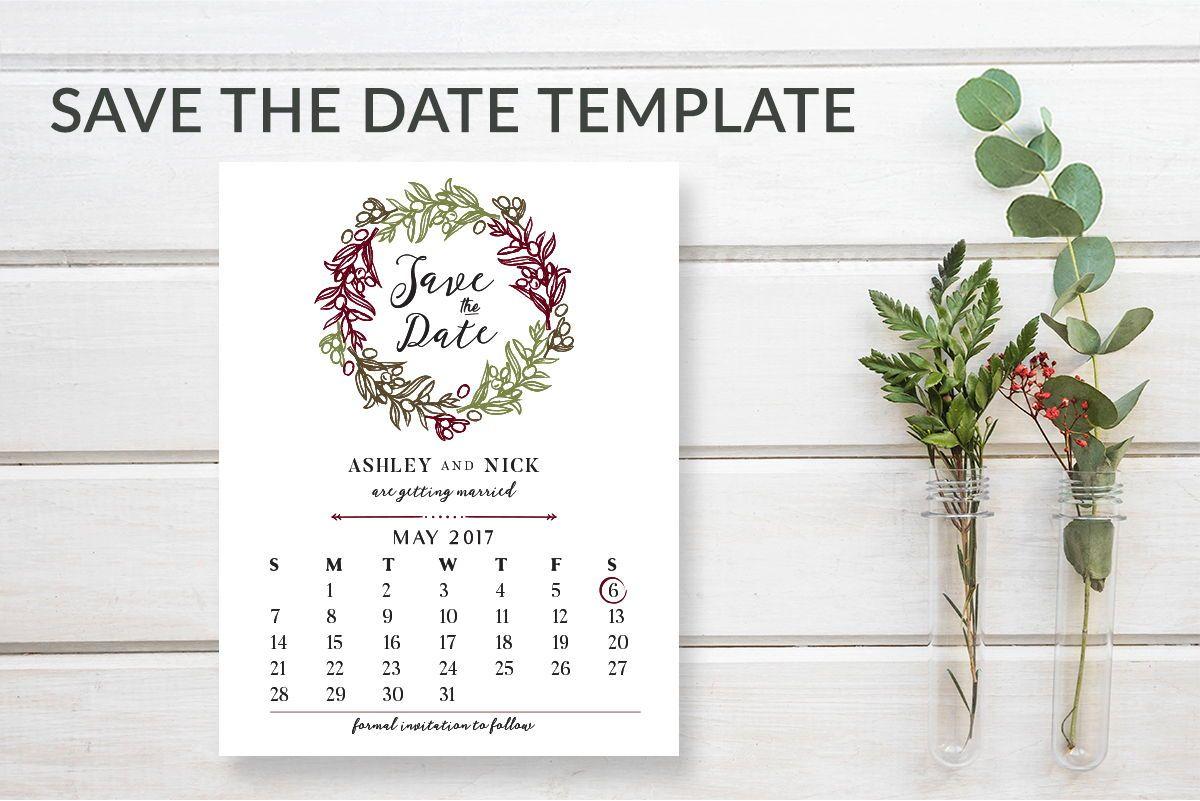 Save The Date Calendar Template   Rustic Wreath Save The Date Calendar Cards Pdf Save The Date