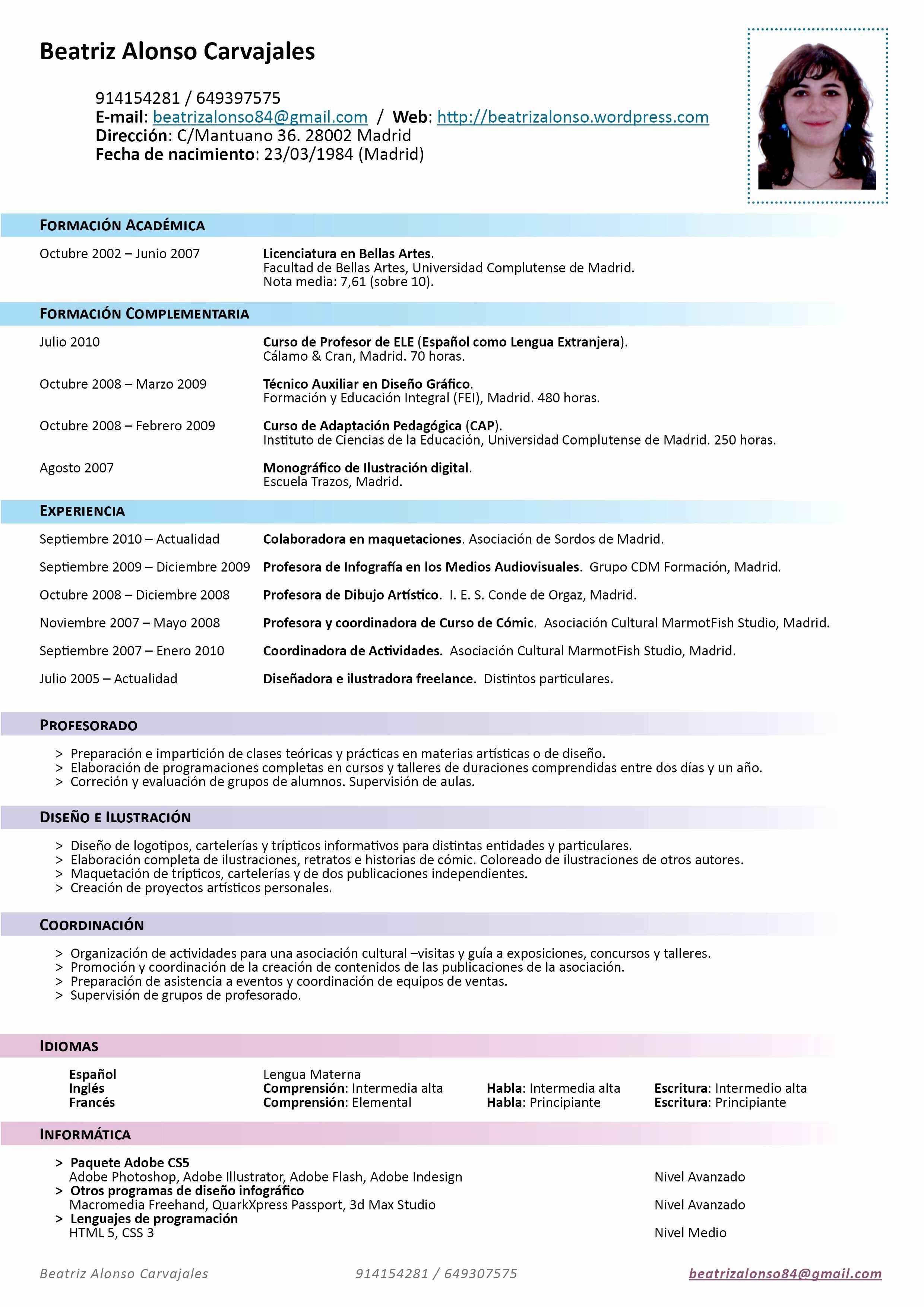 Ejemplos De Resume De Trabajo Luxury Ejemplo Curriculum Vitae Espa±a ...