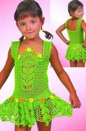 Схема зеленого сарафана крючком девочке
