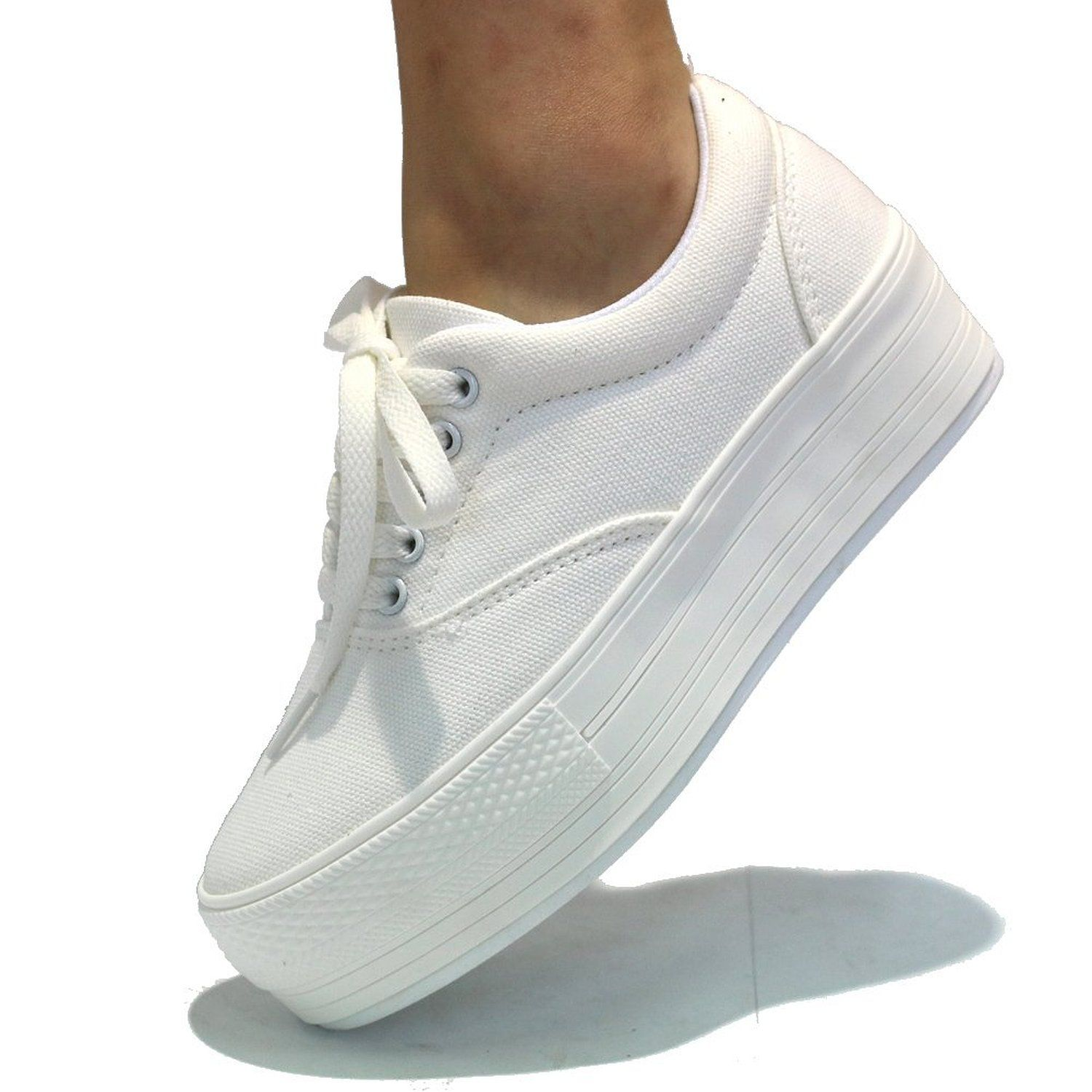 6c6af0b7bc9acf Amazon.com  Women s White Low Canvas Platform Sneakers  Clothing ...