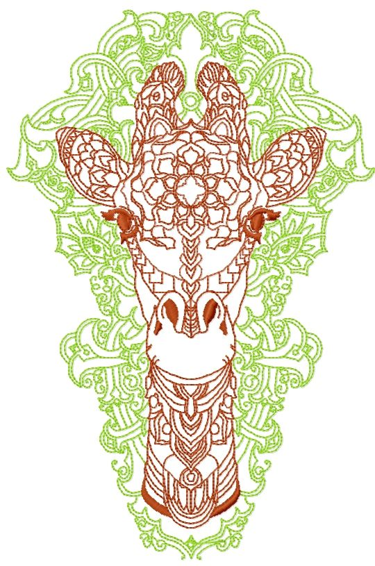 Modern Giraffe Free Embroidery Design Redwork Free Embroidery