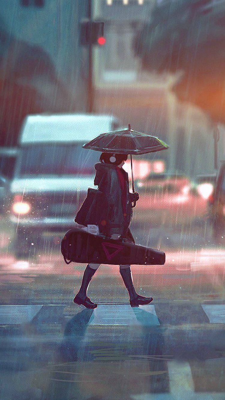 Bc90 Rainy Day Anime Paint Girl Art Illustration Flare Anime