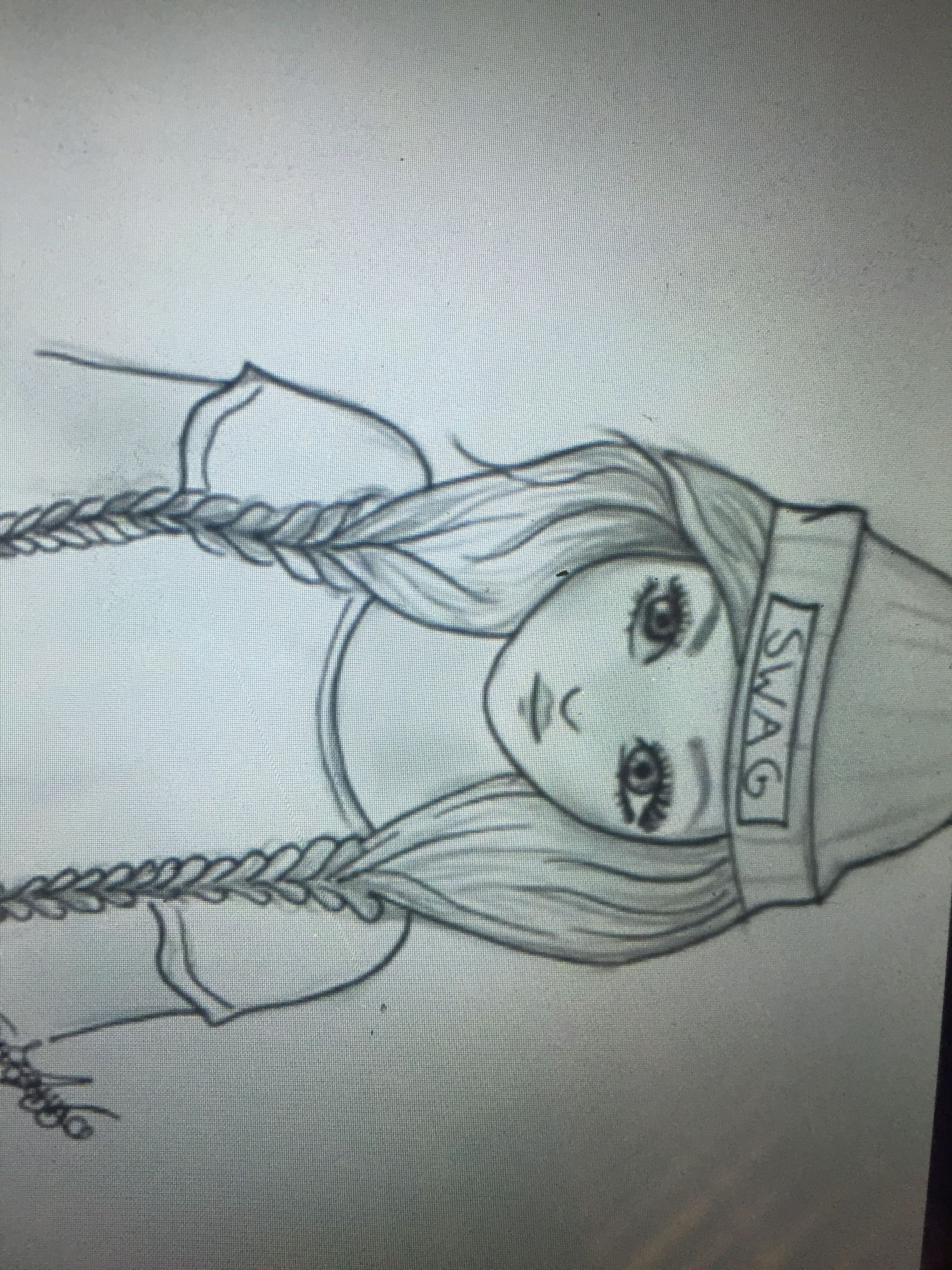 Tumbler swag girl drawing / easy/ braids/ sketch/ hair. Want