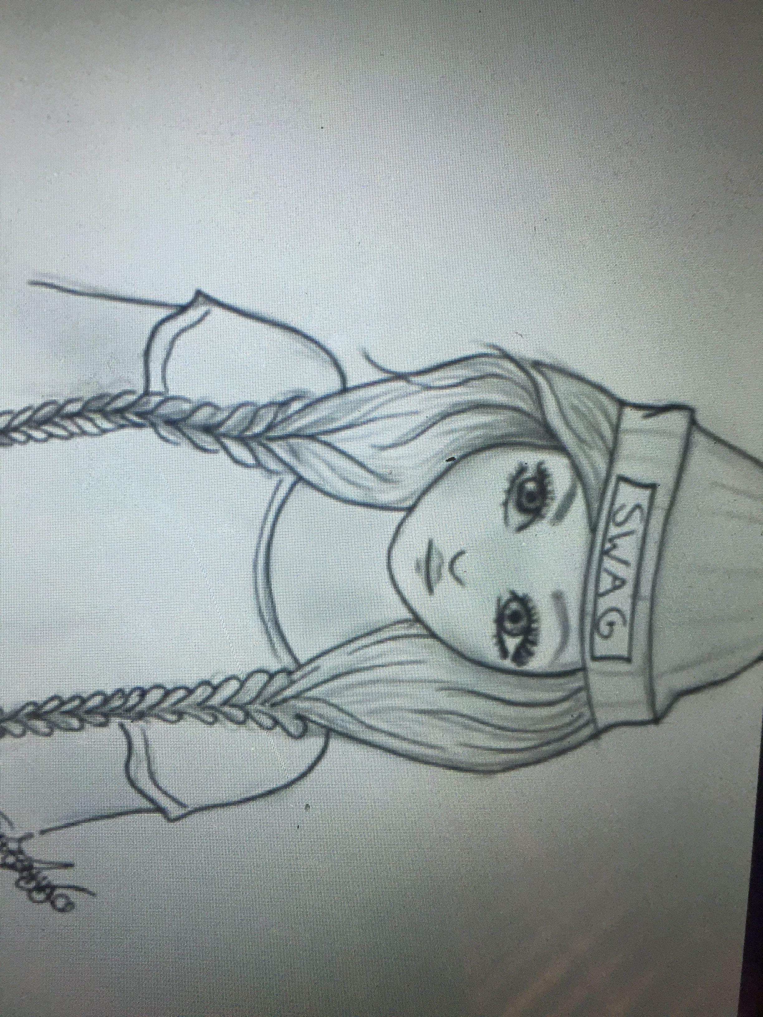 Tumbler swag girl drawing / easy/ braids/ sketch/ hair ...