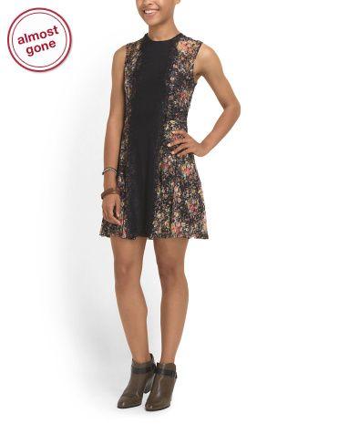 Juniors Printed Lace Dress   @tjmaxx