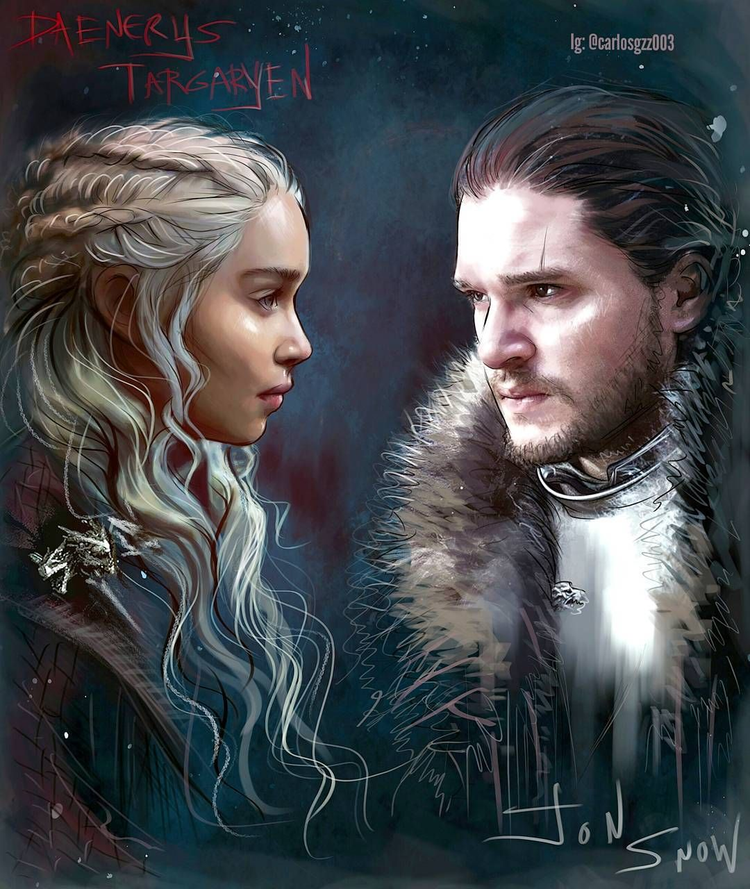 Danerys Targaryen And Jon Snow By Carloz Gzz Jon Snow And Daenerys Game Of Thrones Artwork A Song Of Ice And Fire