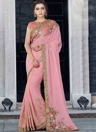 72908defe98c28 Hot Pink Embroidery Work 3D Flower Chiffon Silk Designer Fancy Half Sarees  http://