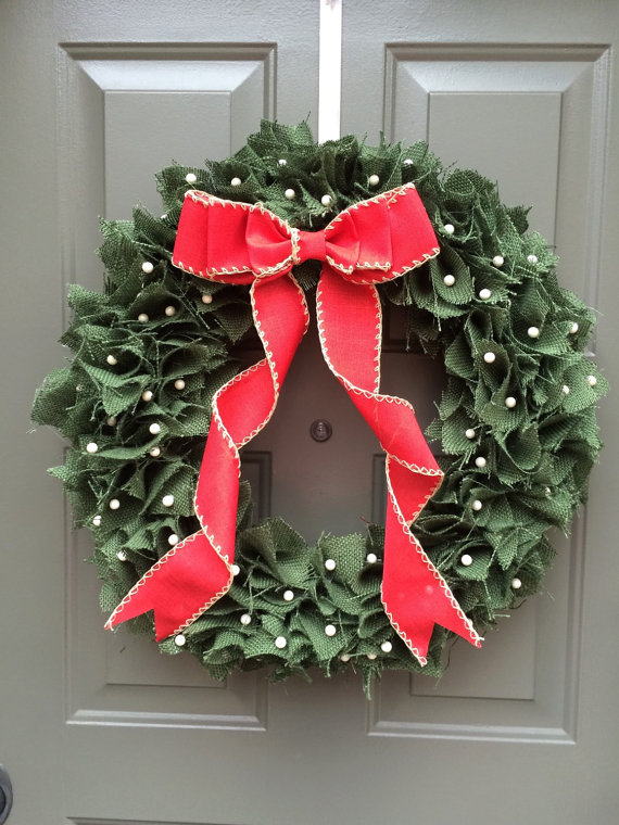 Christmas wreath, rustic christmas wreath, green christmas wreath