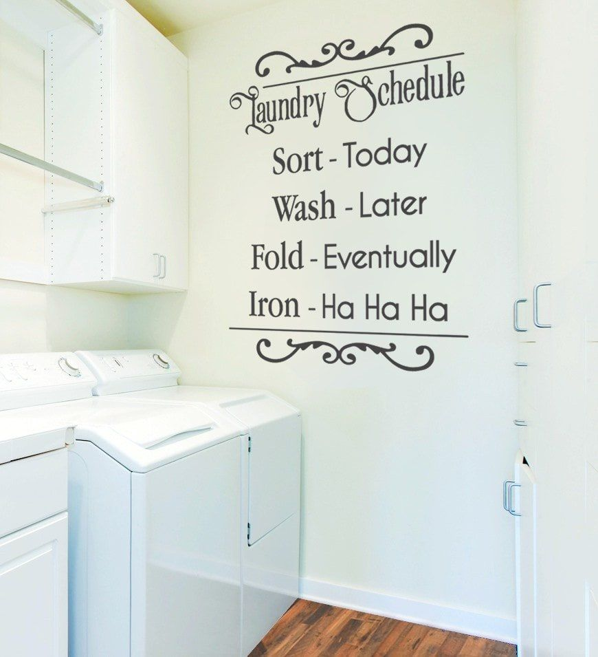 Laundry Room Wall Appliques Laundry Schedule Wall Sticker  Wall Chick  Extension Utility