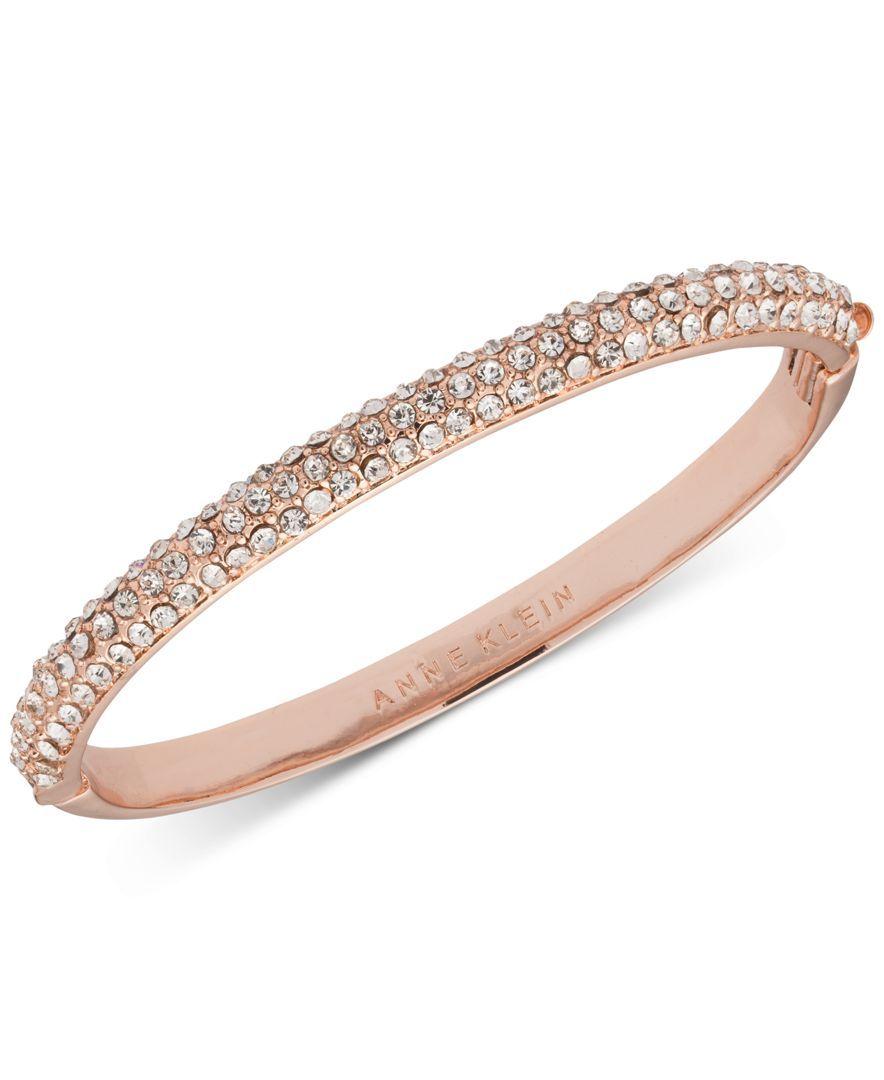 Anne Klein Rose Gold Tone Crystal Pave Bangle Bracelet