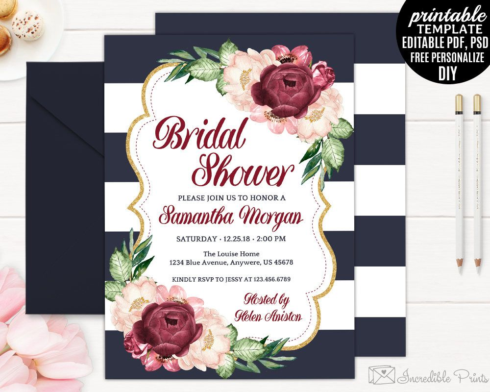 7216f57825d3 Navy Gold and Marsala Watercolor Flowers Bridal Shower Invitation Template  Printable Bohemian Burgundy Blush Garden Red PDF PSD DIY Digital by ...
